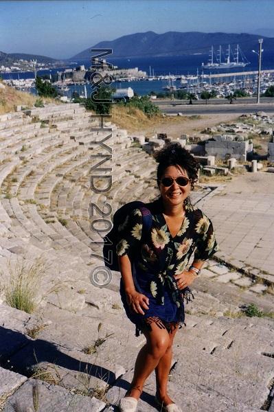 Pre-stroke amphitheatre ruins, harbour Aegean sea, Bodrum, Turkey