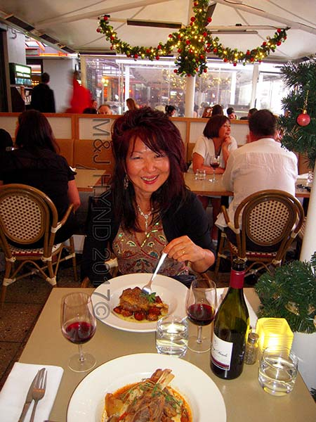 Mecca waterfront restaurant; pork belly and lamb shanks, Auckland, NZ