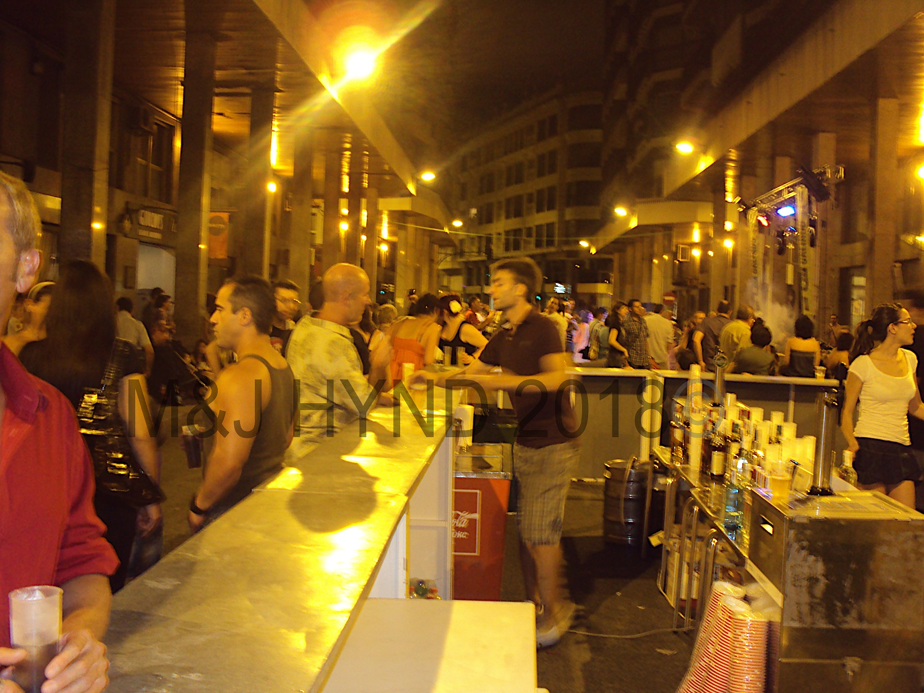 typically a busy street, tonight a huge open bar