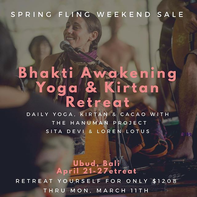 ANNOUNCEMENT 🌺✨Bhakti Awakening Yoga & Kirtan Retreat in Bali 🌺 ✨ SPRING SALE!  THIS WEEKEND ONLY 🙏🏻 Retreat yourself to a blissful week in Bali with the @hanumanproject, @sitadeviyogini & @lorenlotus for daily yoga, Kirtan, cacao Ceremony & playshops to dive into deeper connection with the frequency and vibration of music & sound 🎶 🎶 with community! All while exploring Bali, the beauty of Ubud and the traditions of Balinese culture.  SPRINGFLING SALE only $1208 for the entire week offerings; originally $1790 for double occupancy.  Only $1408 for single occupancy; originally $1990!  Input discount code SPRINGFLING at checkout through Monday at midnight to redeem your Spring treat! ✨🌺🙏🏻 Link in our bio for full details & booking. Please email us with any questions; info@lotusretreats.com  #haribol #lotusretreats #bhaktiawakening #baliretreat #hanumanproject #tirtaempul #watertemple #monkeyforest #baliyoga #baliindonesia #balispiritfest