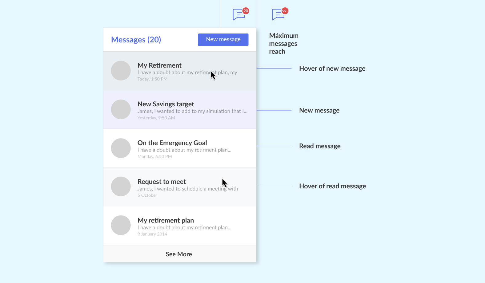 An example of high-fidelity wireframe for the messaging panel.
