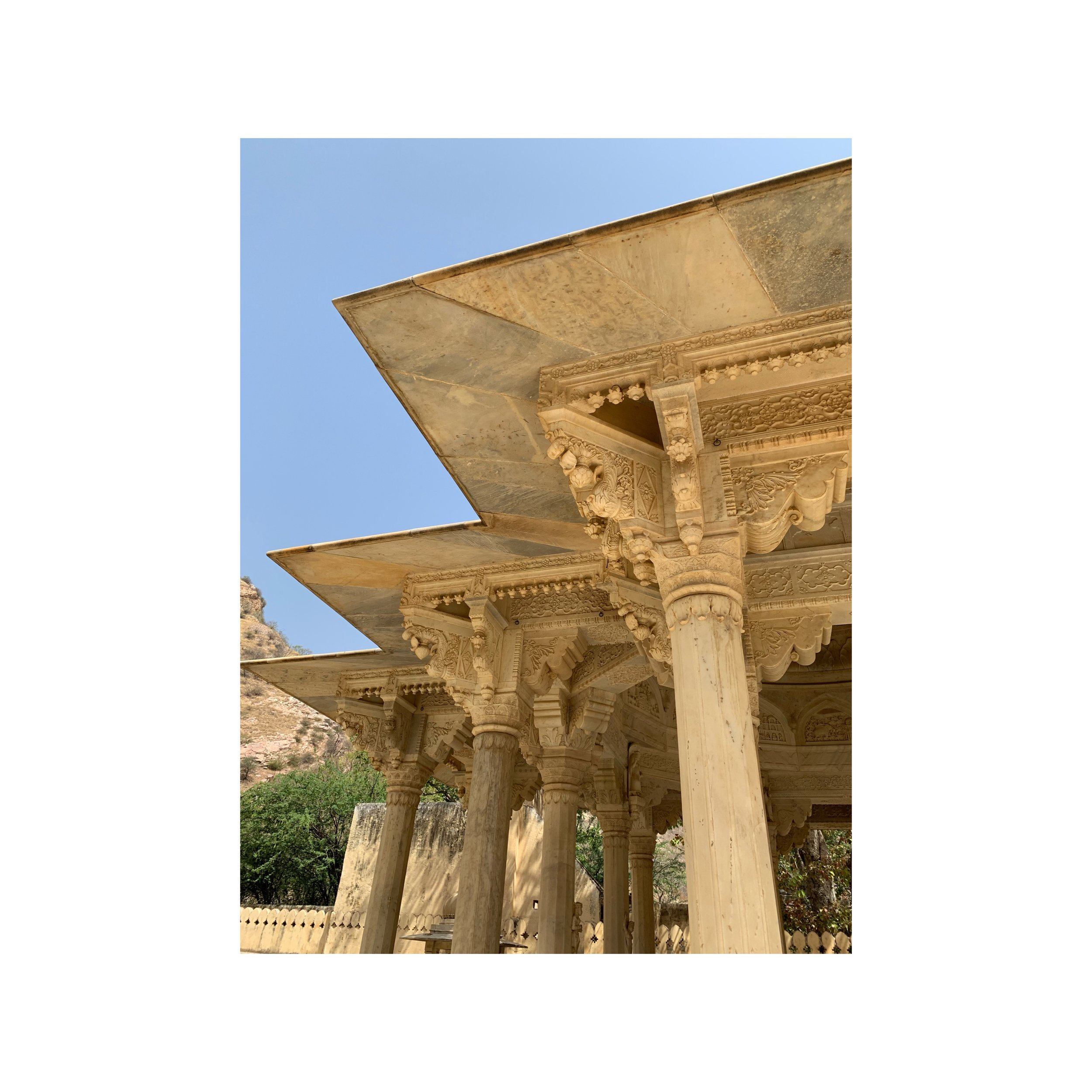 Gatore Ki Chhatriyan Jaipur India - Traditional art of Rajesthan created from Makrana marble - Sahana Byron Bay.JPG