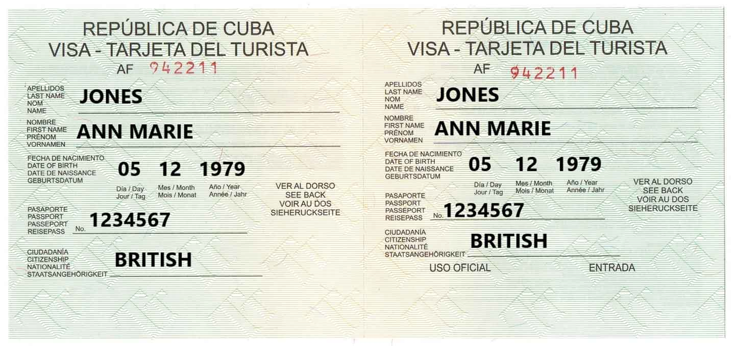 Example of Cuba Tourist Card
