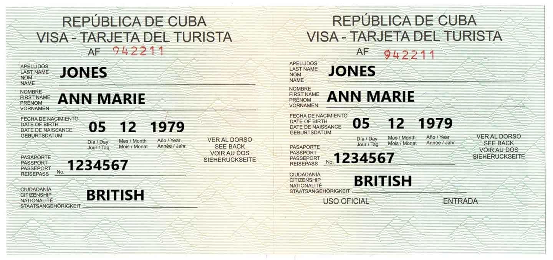 Example of Cuba Tourist Card