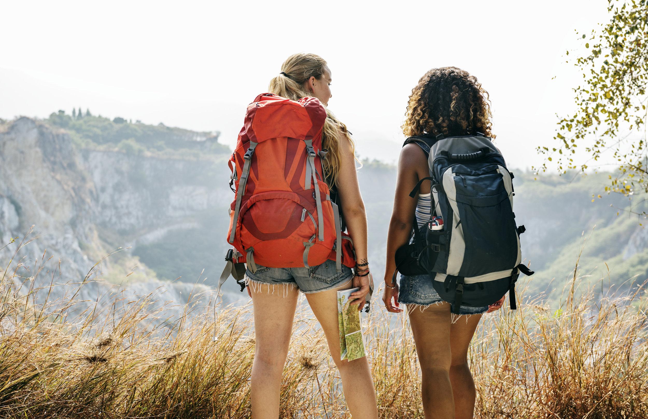 Girls hike together