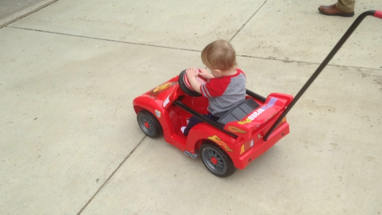 Max enjoying his go-cart