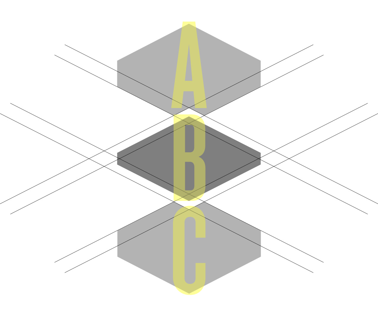 ABC   While working on a logo concept for a project at work, I started playing around with these geometric shapes. I liked their inherent puzzle nature (as they were derived from a compound shape and then broken apart), but I also found their edges and angles intriguing.  This is not perfect, but that's okay. I am trying to push myself to be more creative and put more work up.