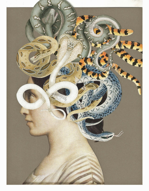 red-lipstick :     Lynn Skordal - Medusa, 2011 Traditional Cut + Paste Collage     I really love this. The combination of images is really striking.