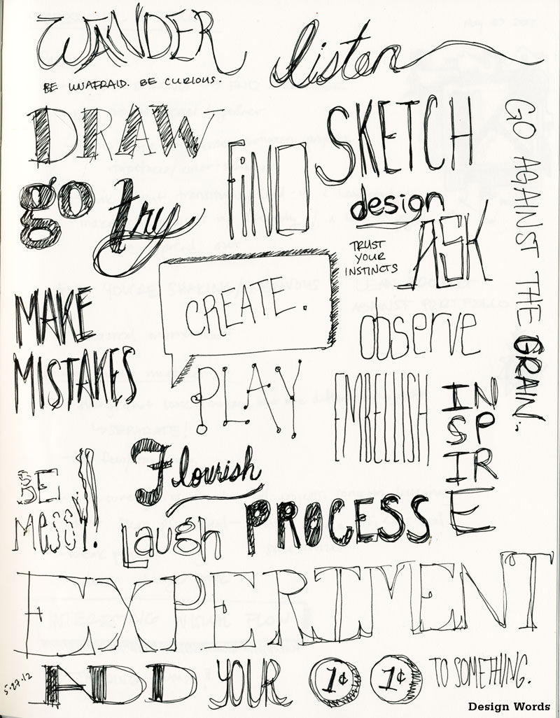 Design Words    A composition of design/creativity-related words, sayings, and mantras I believe to be helpful and inspirational. It all starts with the need to create.