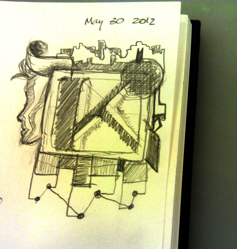 K - May 30, 2012   | Random sketches   A simple, random, stream-of-consciousness doodle from a few weeks ago.