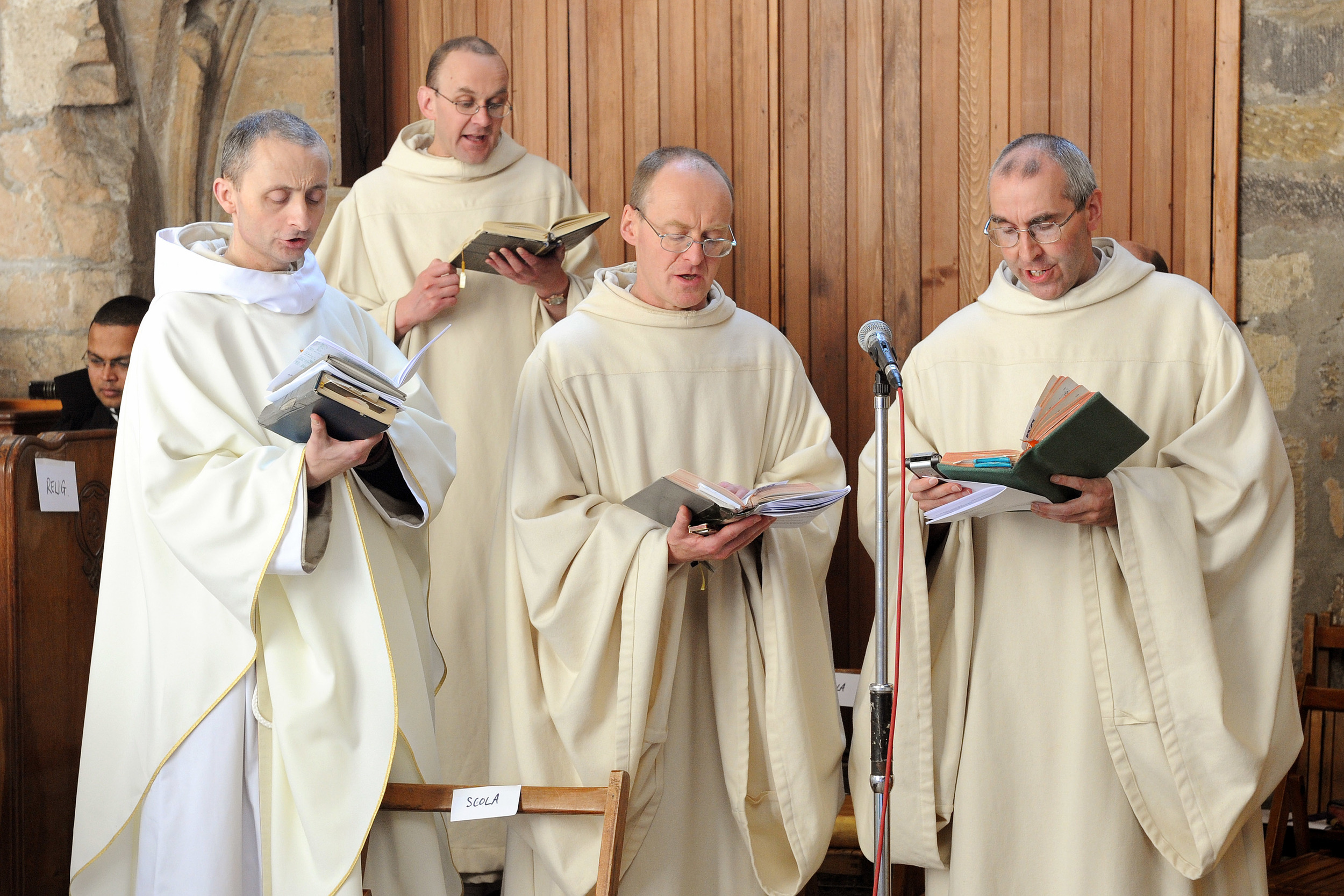 Monks at Pluscarden Abbey