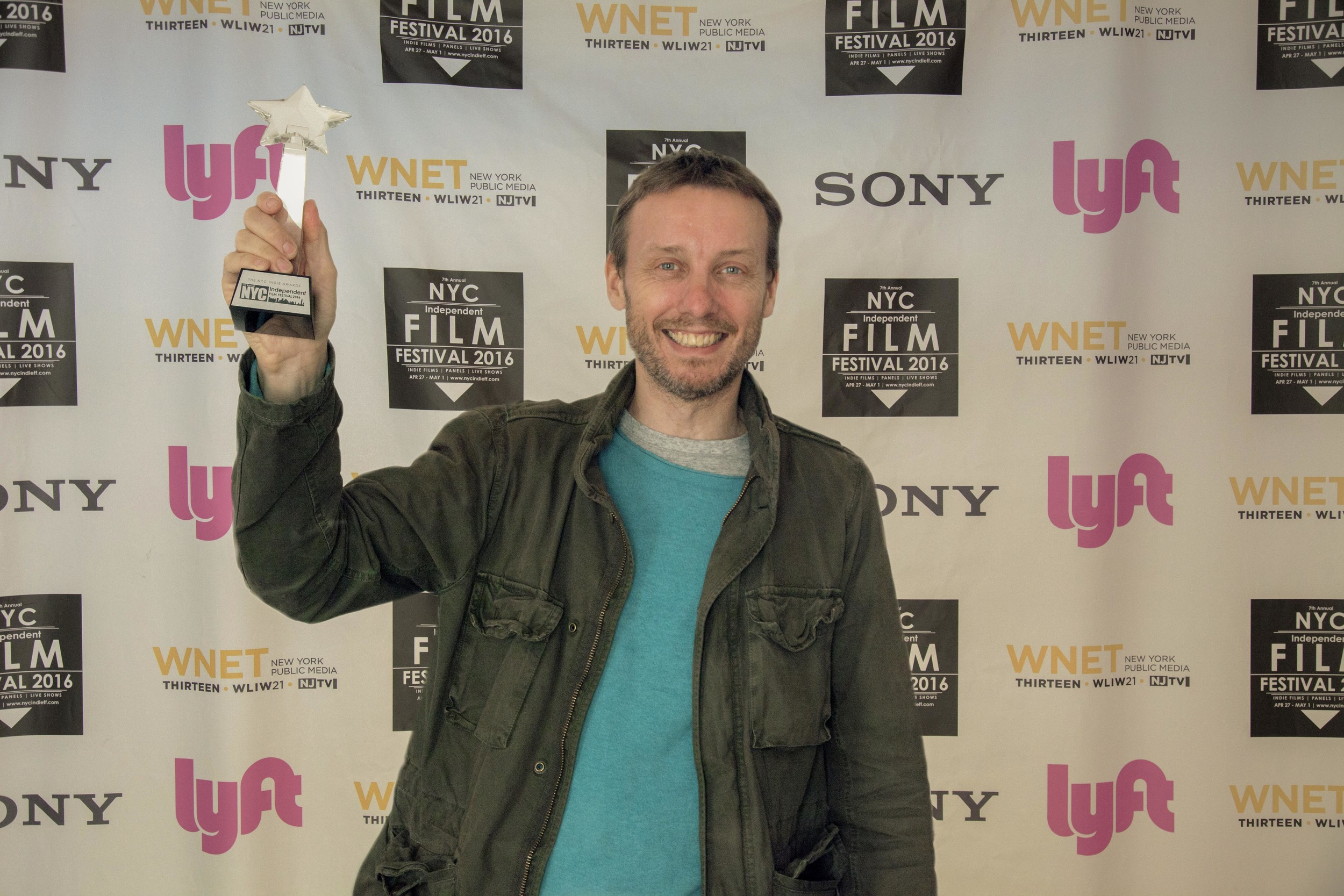 MILE END director Graham Higgins at the NYC Independent Film Festival 2016, with the prize for Best Narrative Feature.