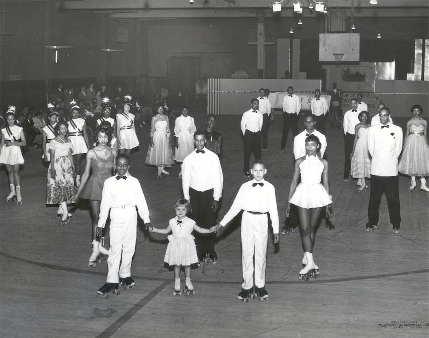 "Pictured is the first black-owned rollerskating rink, ""Pla-Mor"" in Cleveland, Ohio, that opened in the 1940s.   In times of segregation between the 1940's and 1960's, when Black people could not use public roller-skating facilities, Black people created their own spaces to practice and enjoy their love for skating. Today it is still an experience black communities share across the U.S."