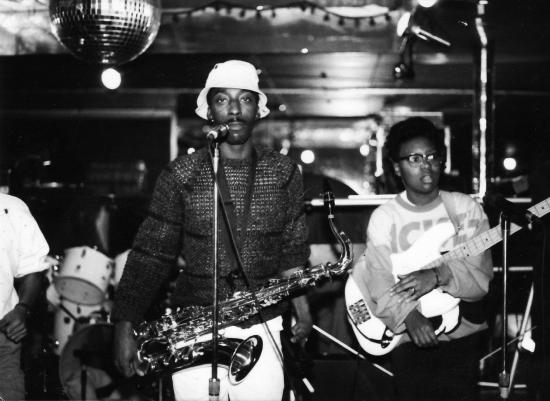 Go-go funk band Little Benny and the Masters, performing at Metro Club in 1986. Photograph by Thomas Sayers Ellis.