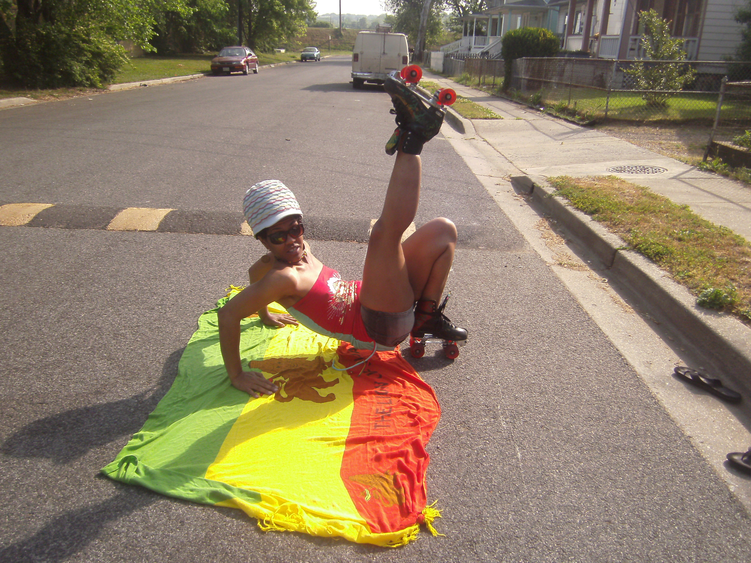 Monique Douglass, part of the Jah Rasta Rollers, showing pride and talent! Washington DC