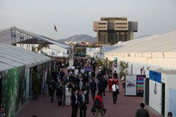 Partsmøtet under FNs klimakonvensjon (UNFCCC) foregikk i år i Lima, Peru. Teltene hvor forhandlingene fant sted var plassert på en militær skytebane. Foto: CICERO Senter for klimaforskning / Tiina Ruohonen.