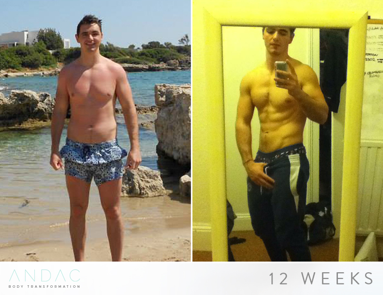 """Liam - Fat Loss - """"I am chuffed and actually very proud with what I've been accomplished over the 12 week plan, never been fitter and leaner and healthier. I followed his instructions in terms of a structured weights routine and following a balanced diet with carbohydrate, protein and fat targets. We worked together in overcoming many hurdles in reaching my goals. He adjusted the programme to meet my personal goals, provided guidance on meeting some of the exercises I struggled with , suggested alternative options to meeting my diet goals and overcoming my cravings with more healthy alternatives."""