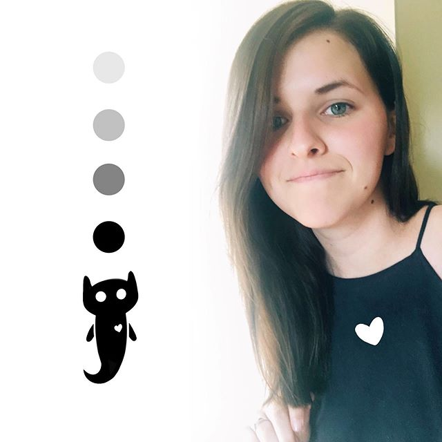 I have dark hair now! and a new (imaginary) friend 😈 . . . #non-art #me