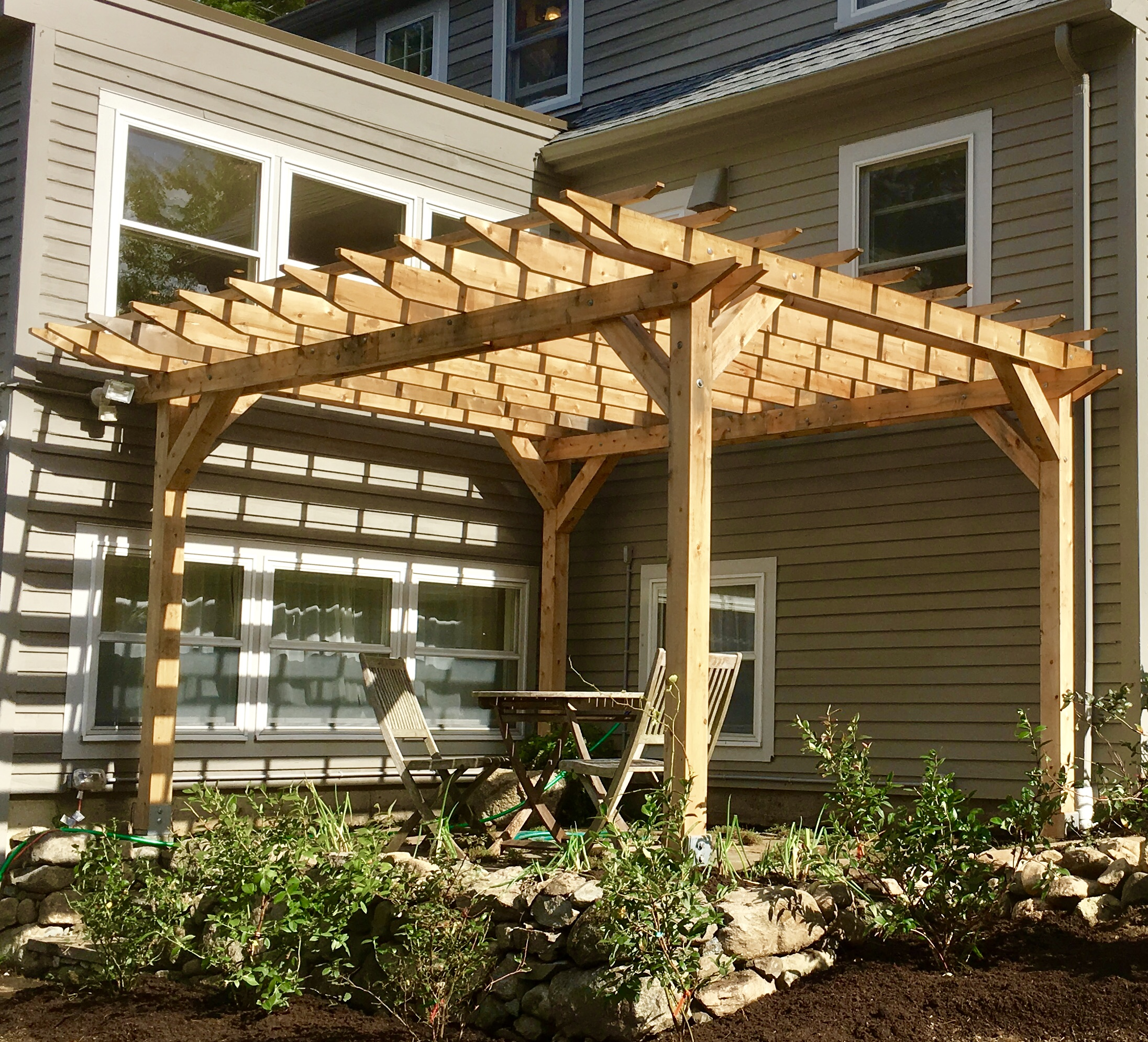 Grape Arbor, cedar, blueberries, bluestone patio.jpg