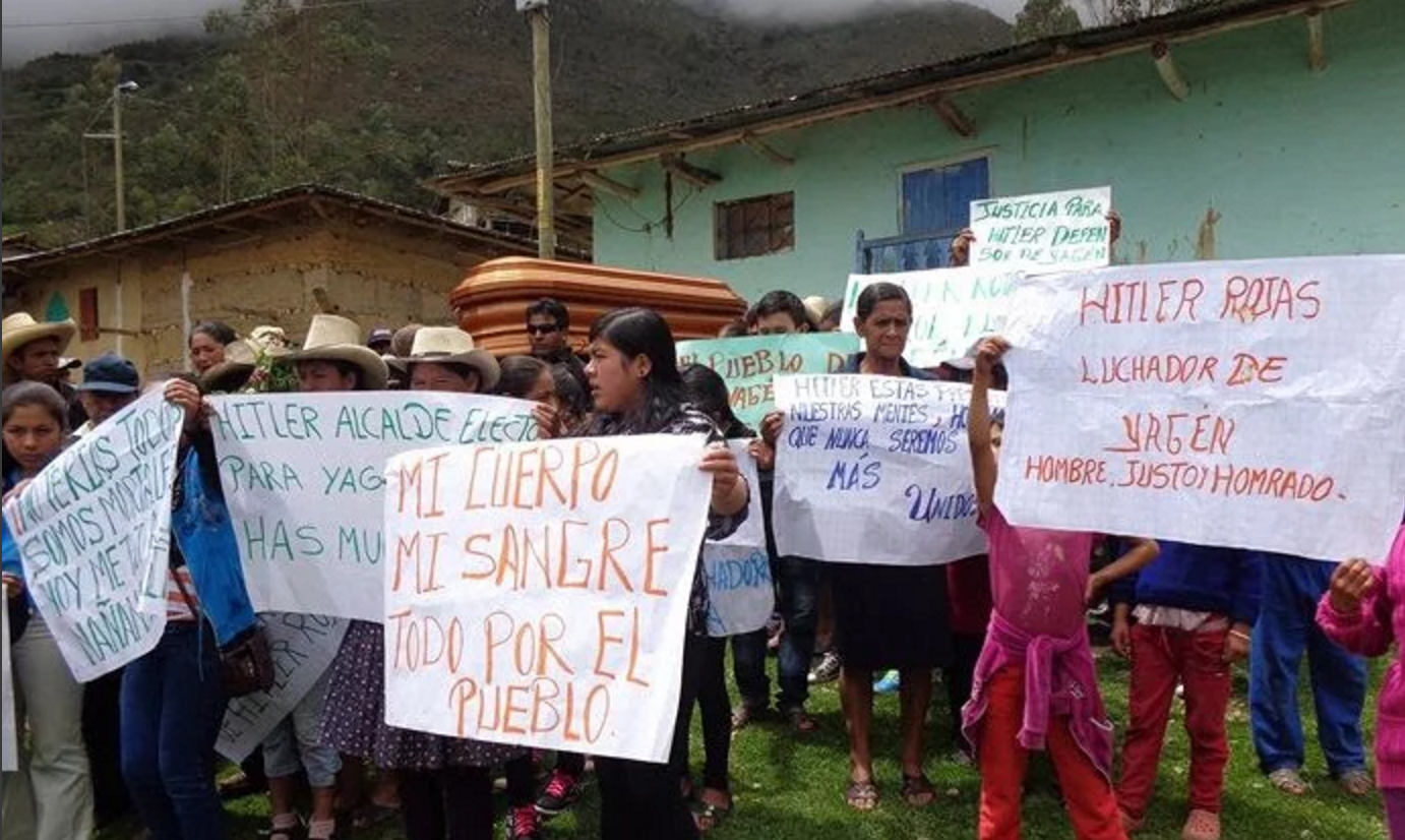 The casket of murdered activist mayor Hitler Rojas Gonzales killed under mysterious circumstances. Rojas Gonzales opposed construction of the Chadin 2 dam in Peru. Photographer Anonymous