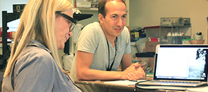 Mentor Alex Boden works with NYC Filmmaker and Lab Participant Kim Dempster