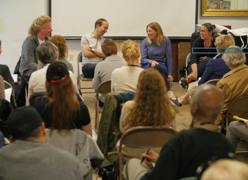 Stowe Story Labs' David Pope tries to manage mentors Alex Boden (Cloud Atlas, Sense8), Molly O'Keefe (TFI), and Julie Keck (Seed&Spark).