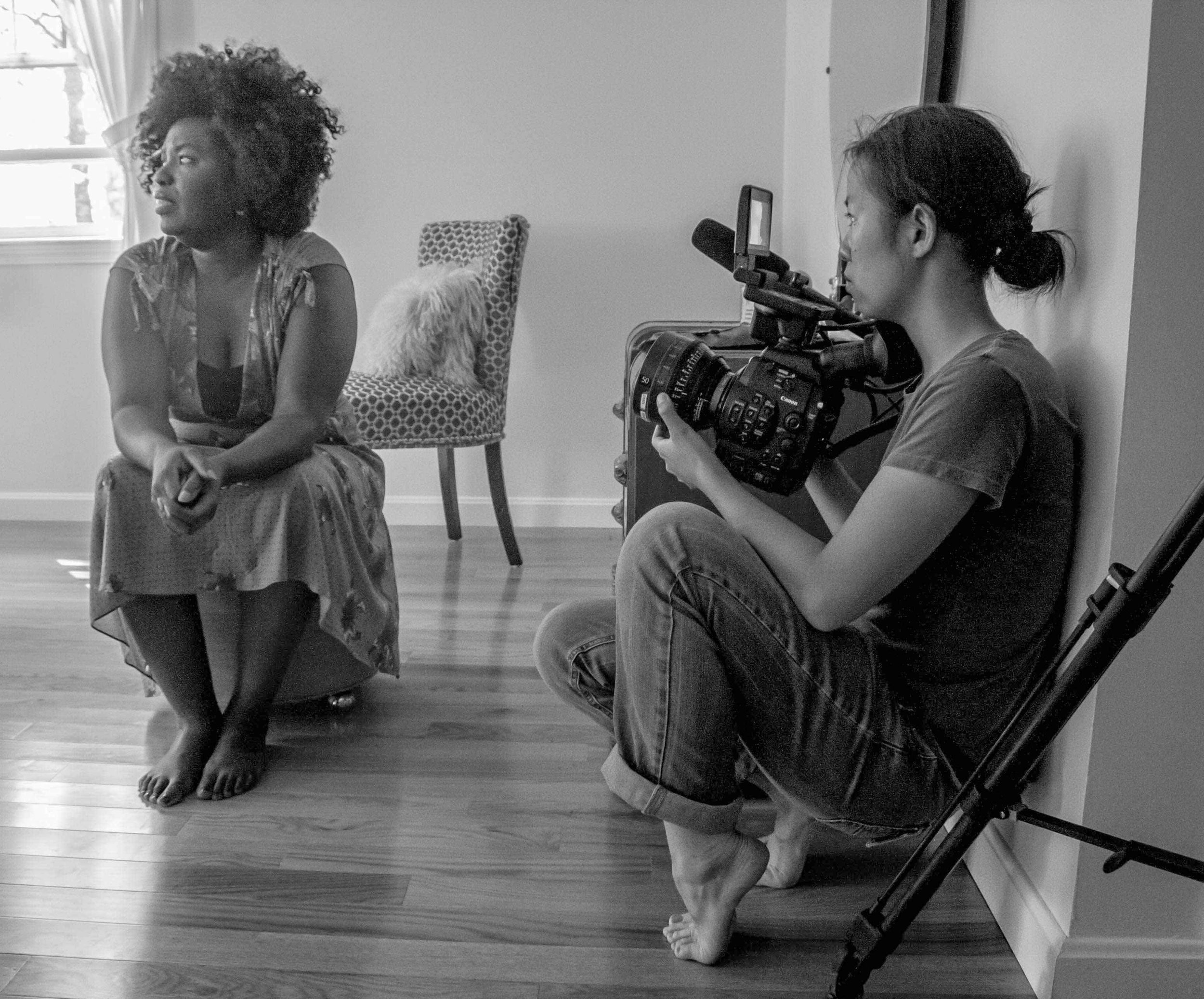 On set Jih-E Peng for our documentary featuring women in film