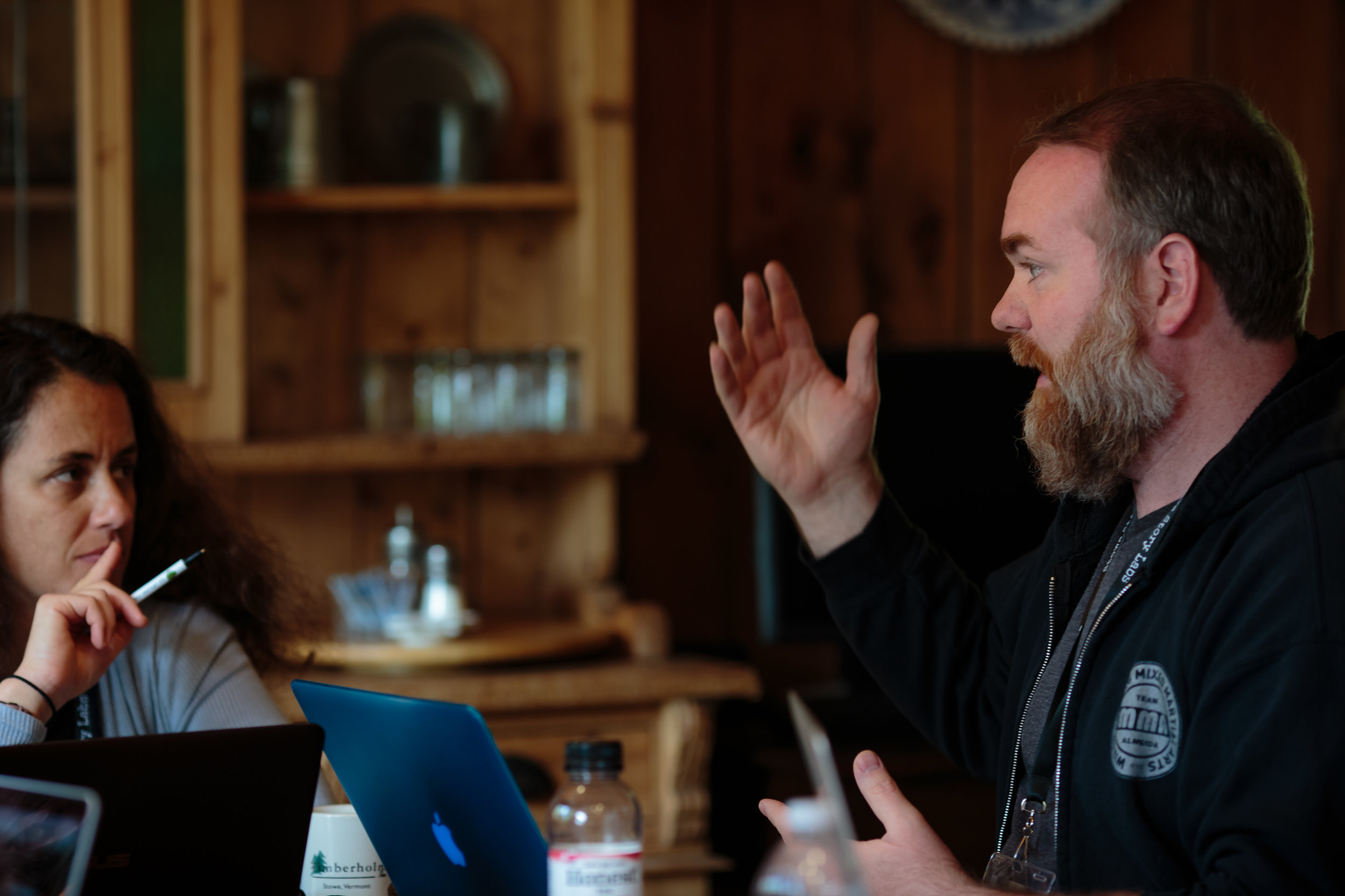 Nelson Downend and Shoshana Rosenbaum at 2017 Writers' Retreat, Timberholm Inn