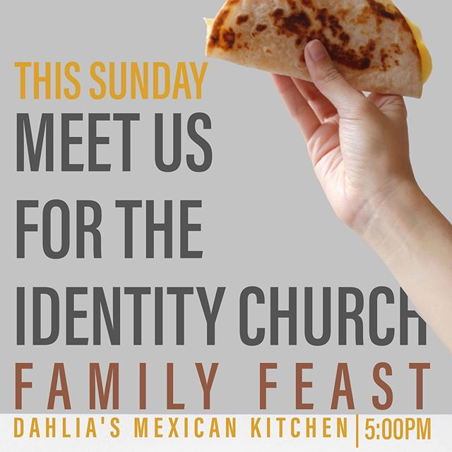 We're gathering for a family meal this weekend at @dahliadaytona . APPS ARE ON US. Join us there and bring a friend. This will be in place of our evening worship gathering. There will be no meeting this week at Cinematique.