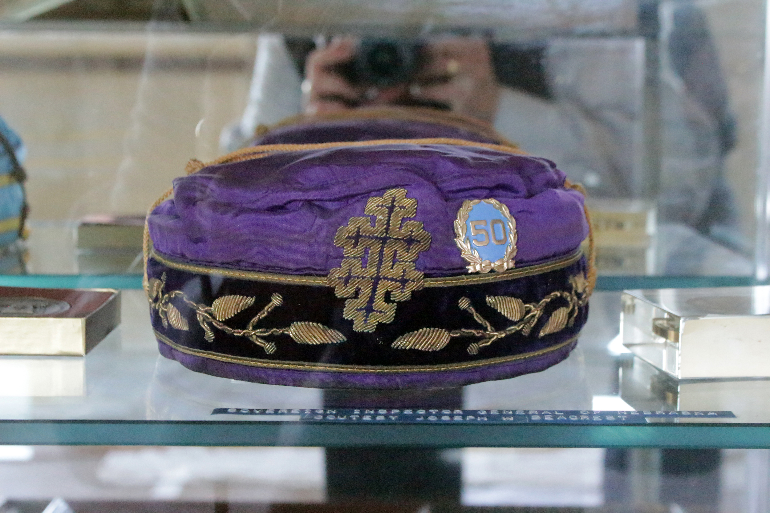 33° Sovereign Grand Inspector General cap belonging to Joseph Seacrest, who served from 1950-1971, now in the museum at the Hastings Masonic Center.