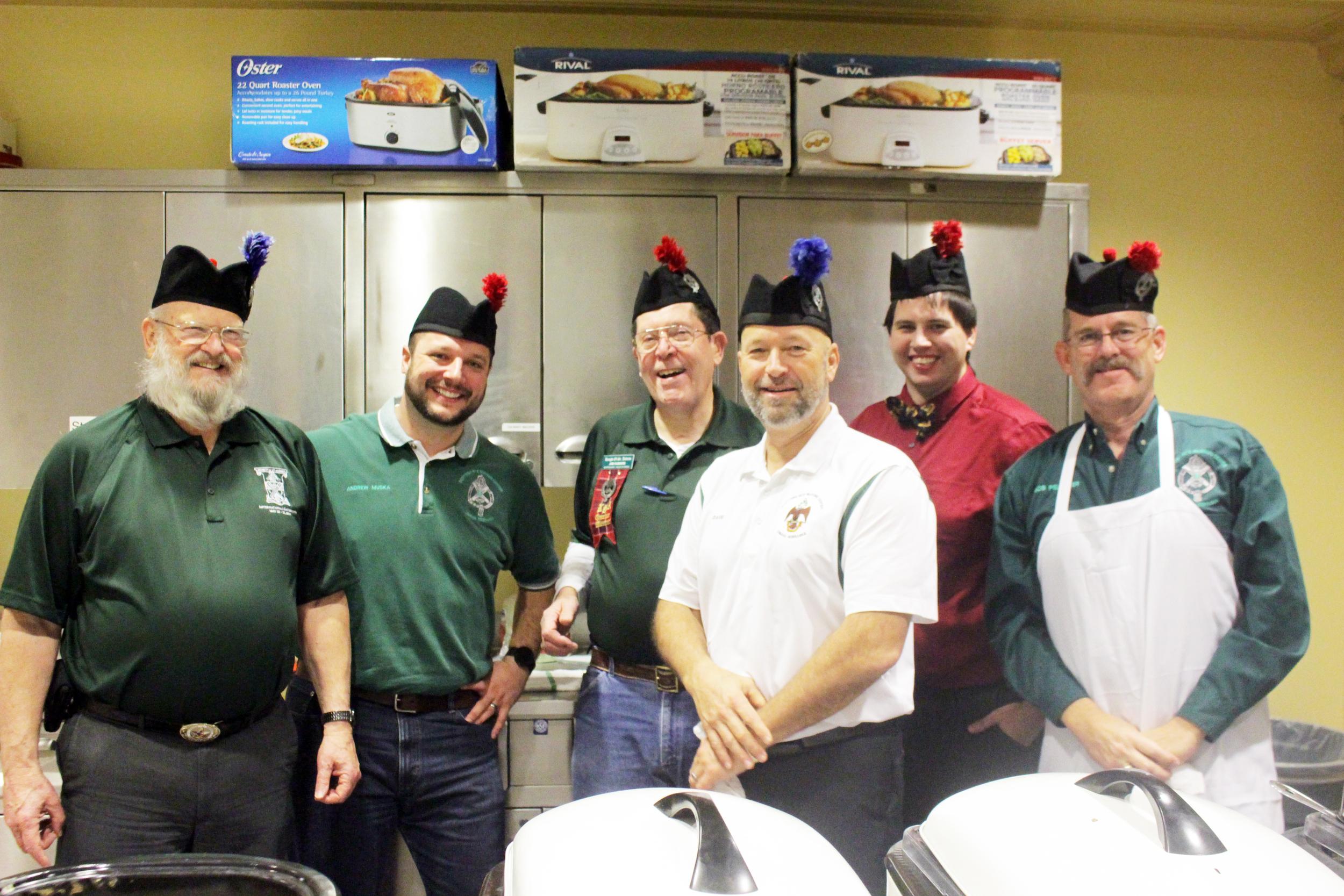 Omaha Knights of St. Andrew serving breakfast at the November, 2015 Reunion: Brothers Carl Highman, 32°, Andrew Muska, 32°, Jim Flowers, 32°, David Meinzer, 32°, Kyle Beckner, 32°, and Robert Pelletier, 32°