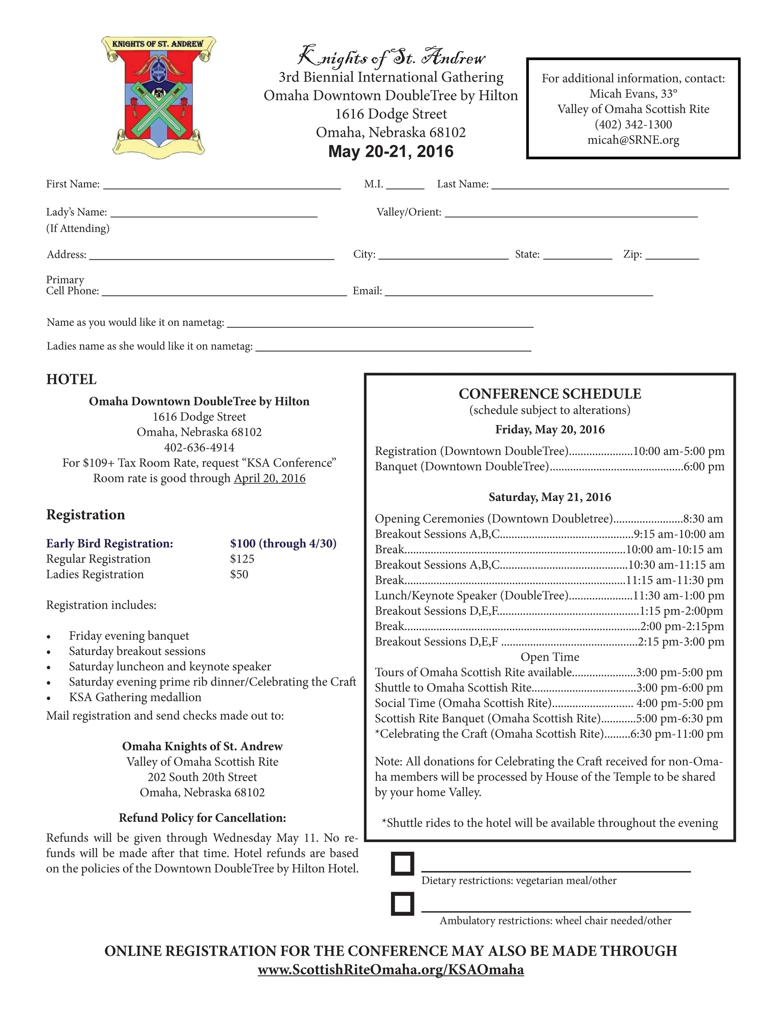 Click above to download a registration brochure to mail in.