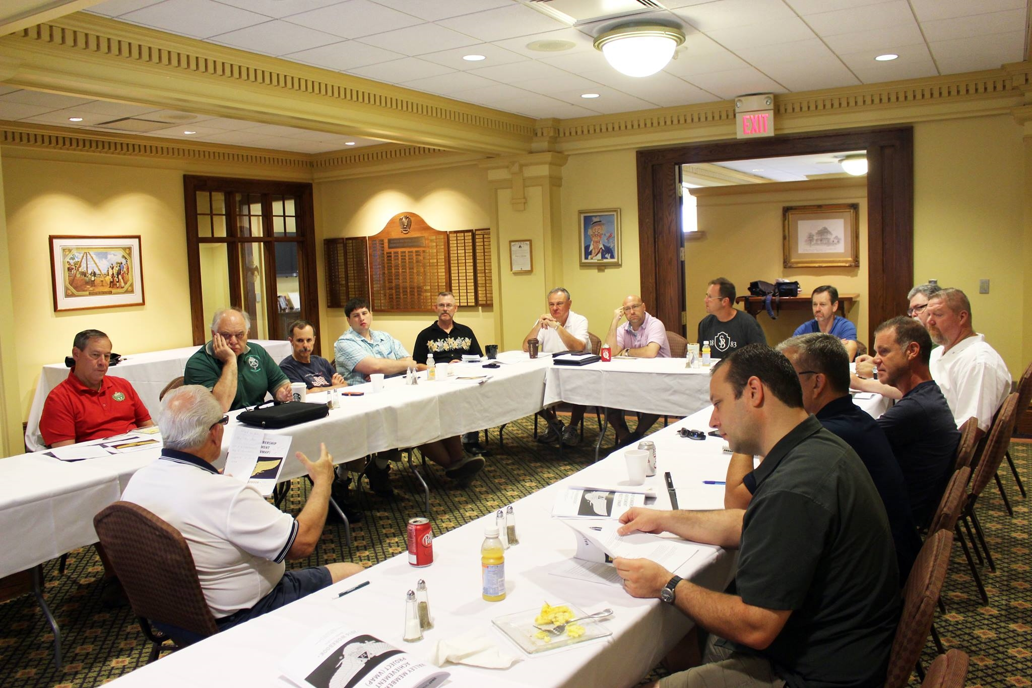 Members of the Valley of Omaha Scottish Rite VMAP committee meeting to discuss goals for the committee.