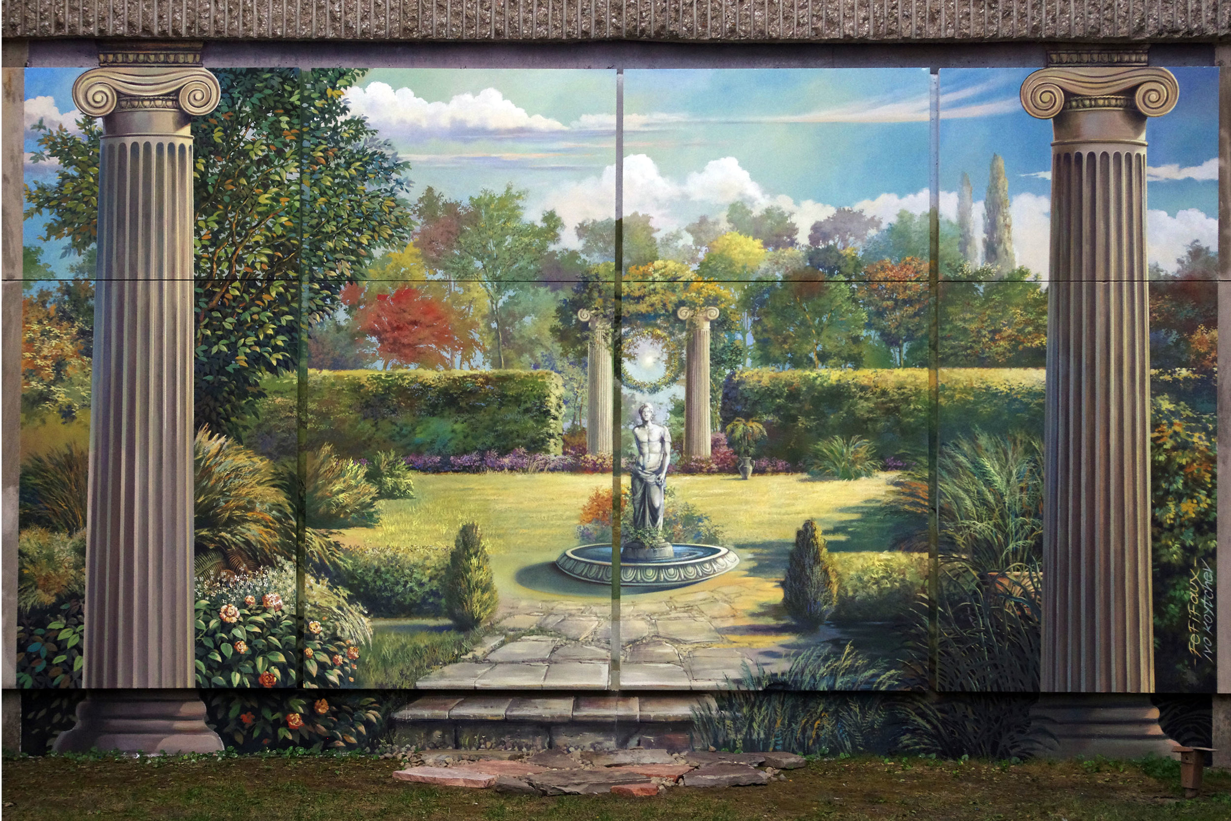 The finished mural has numerous Masonic references included for the viewer to discover.