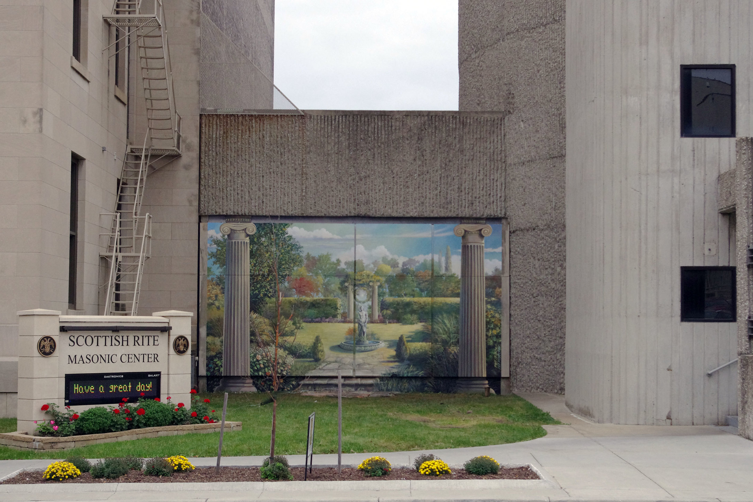 The Mural and Garden is a favorite spot for wedding parties photos.