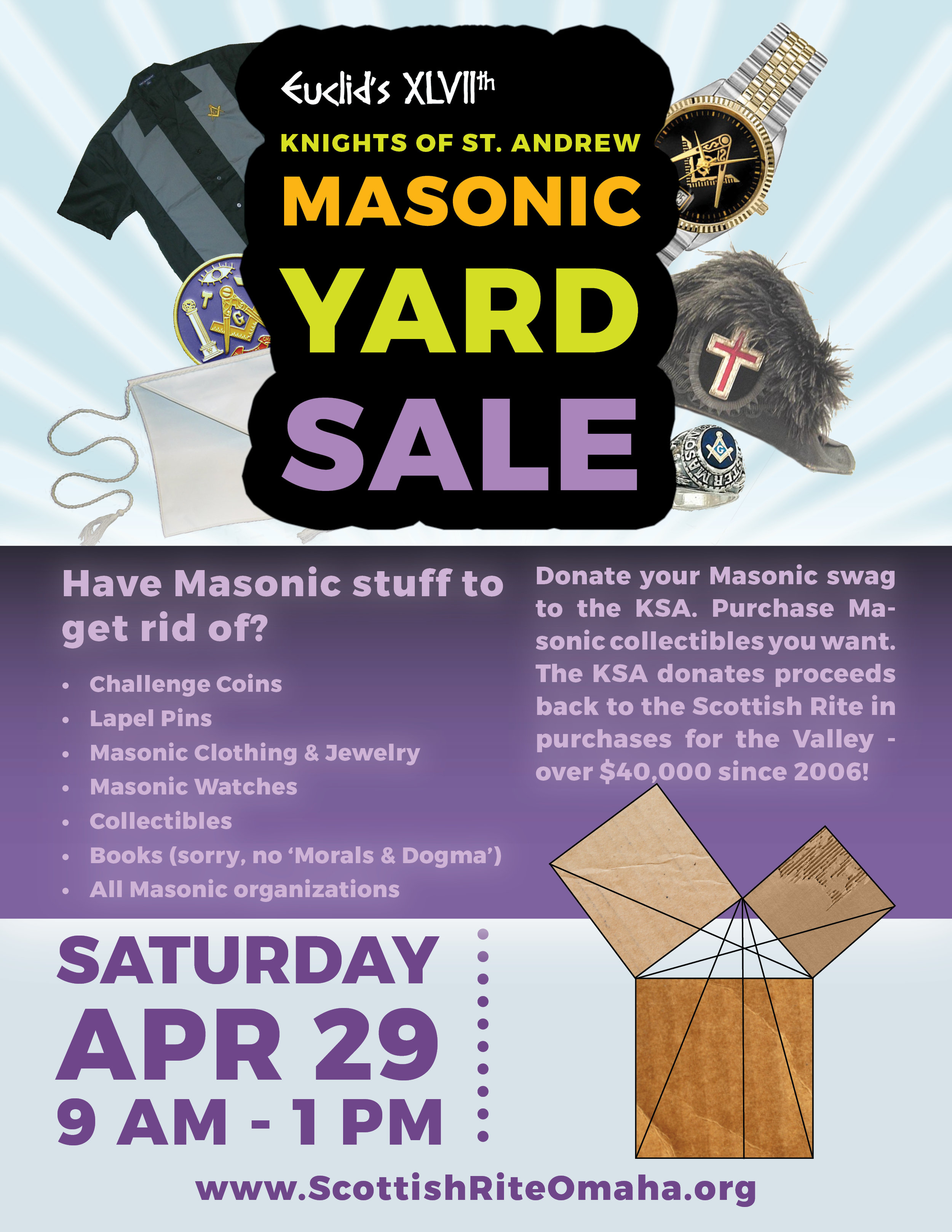 The KSA Masonic Yard Sale raised over $800, which will be donated back to the Scottish Rite in purchases. Since 2006, the KSA has donated back over $40,000, including defibrillators, CPR training, granite benches in the courtyard, bronze lanterns in the 33° Board room and so much more!
