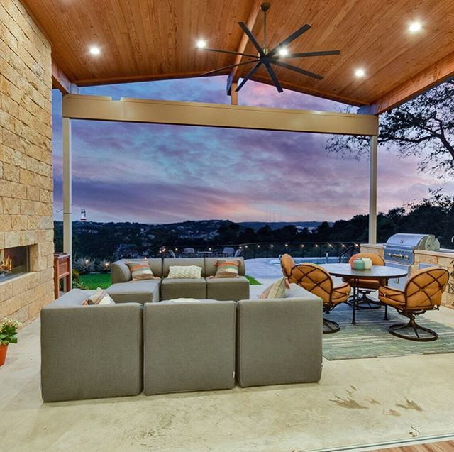 Weekend goals 💯 Why do #ACL when you have a view like this? . . . #austintexas #atx #austin #house #home #newconstruction #patio #resortstyleliving #backpatioview #view #sunset #fall #grilling #modern #livingmybestlife #realty #realestate #customhome #design