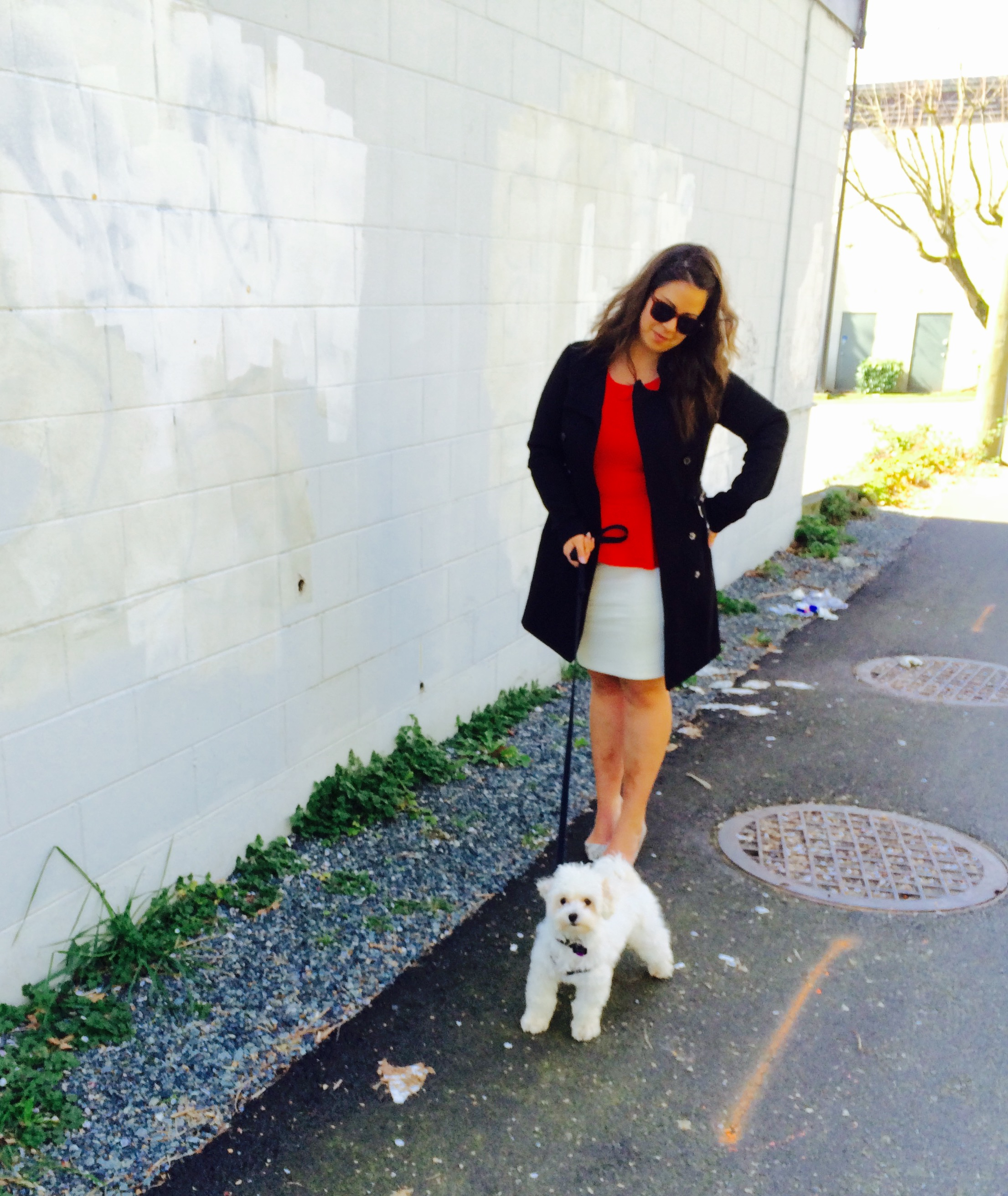 Jacket: Vera Moda. Skirt and Top: Calvin Klein. Shoes: Aldo. Dog: Milo!