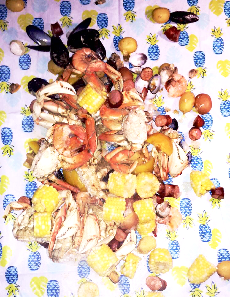 The end result of the Seafood boil!