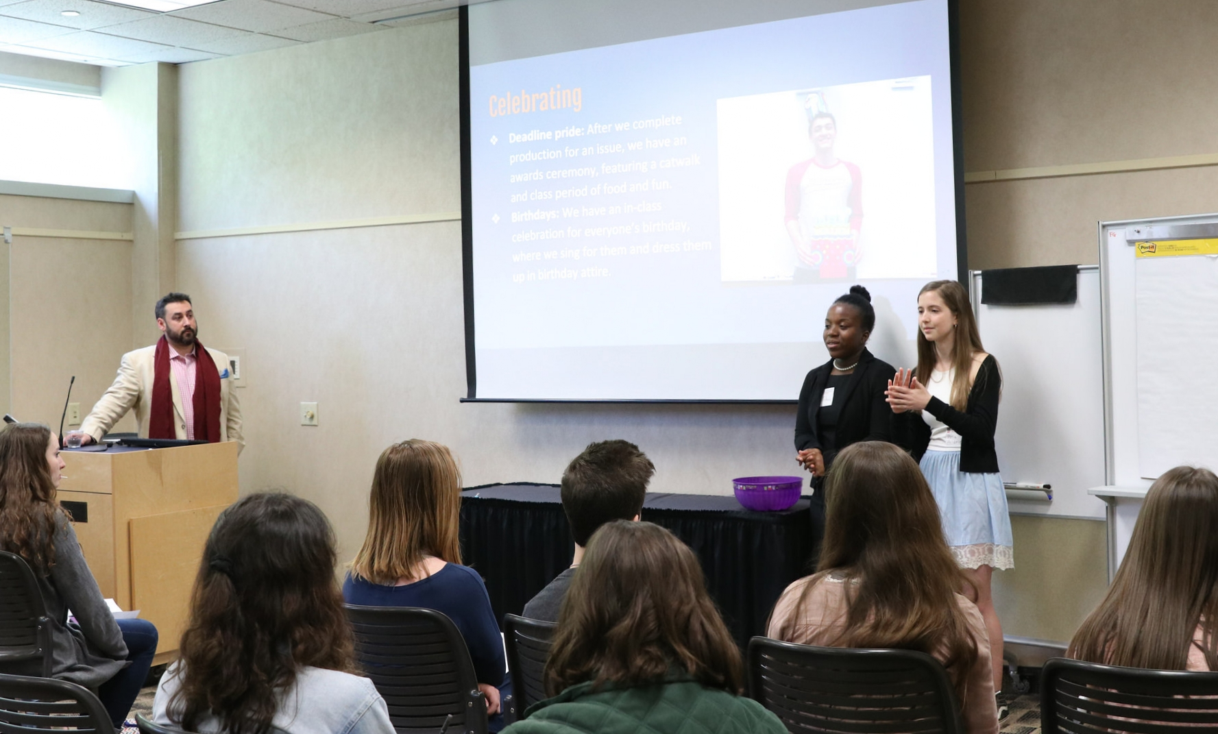 Clarke central Odyssey media group members bria echols (center) and ANa aldridge present at the GSPA spring workshop on april 17, 2018, as adviser David Ragsdale looks on.
