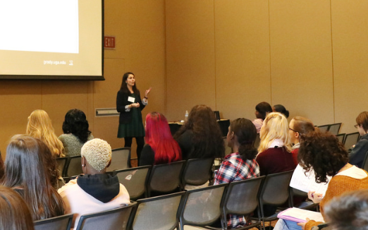 """Samantha Meyer, UGA Grady College Director of Experiential Learning, presents """"Set yourself up for success: Turn high school hobbies into college majors"""" during the GSPA Fall Conference Oct. 22, 2018, at the UGA Tate Student Center."""