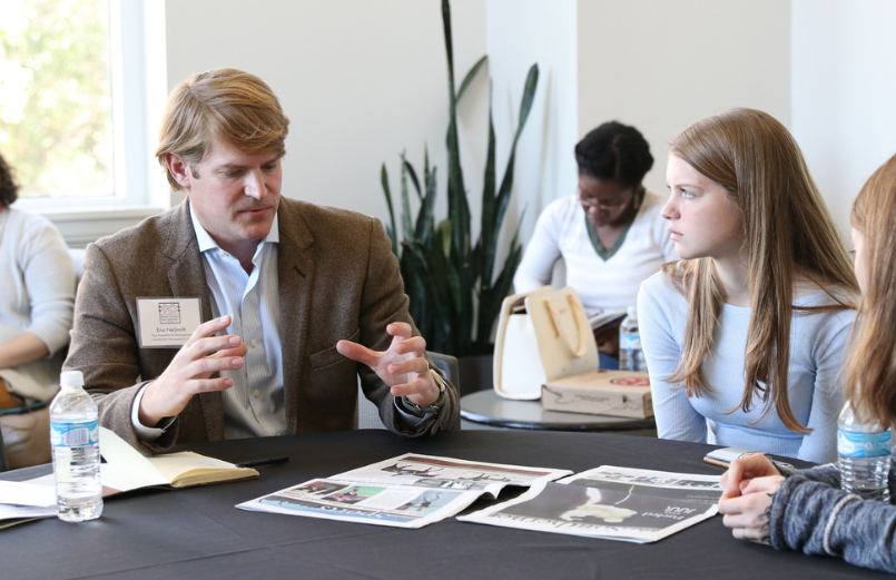 Eric NeSmith, vice president of development At community newspapers Inc., offers an on-site critique .