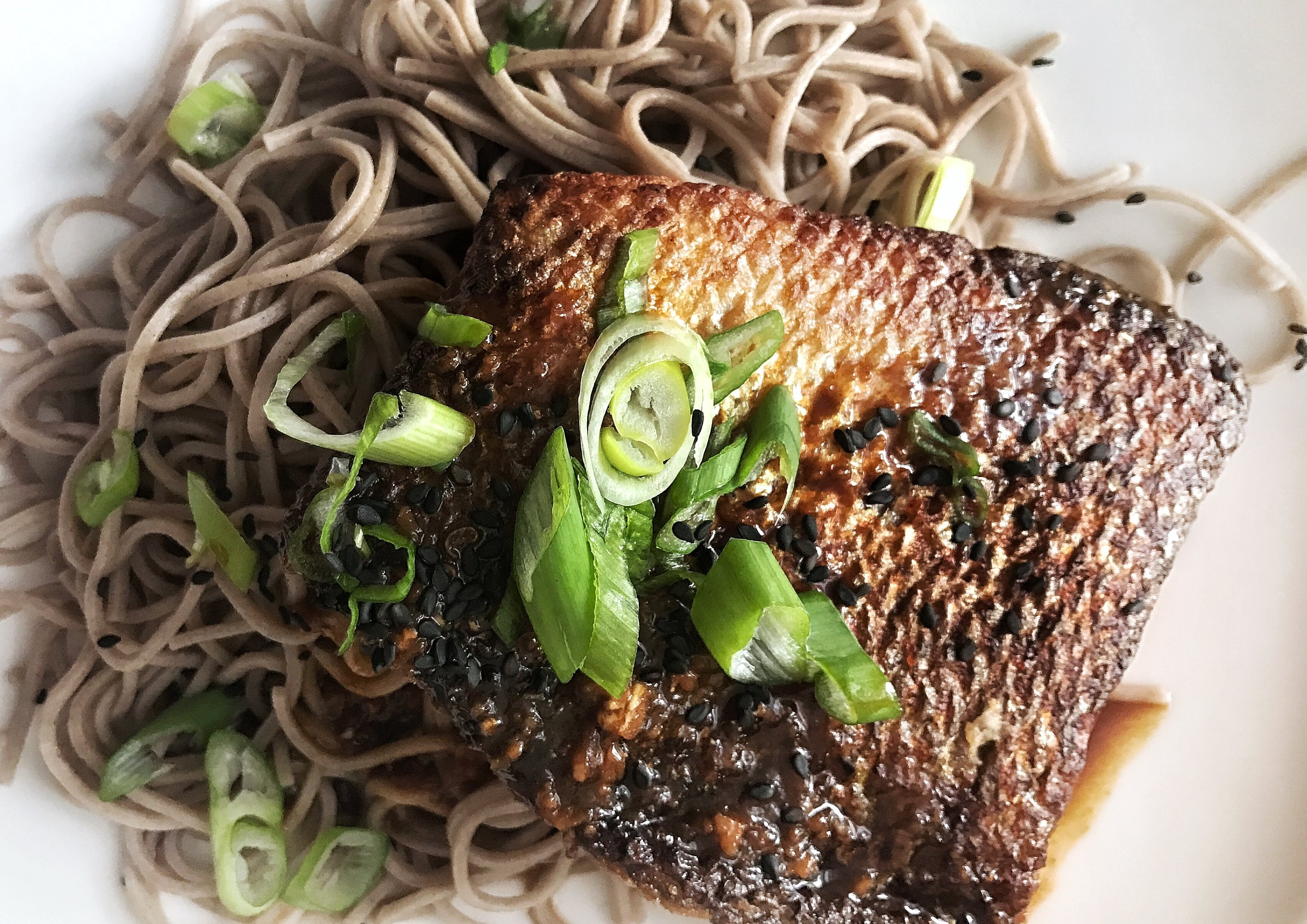 Seared Salmon ginger Yuzu Sauce by Judy Kim