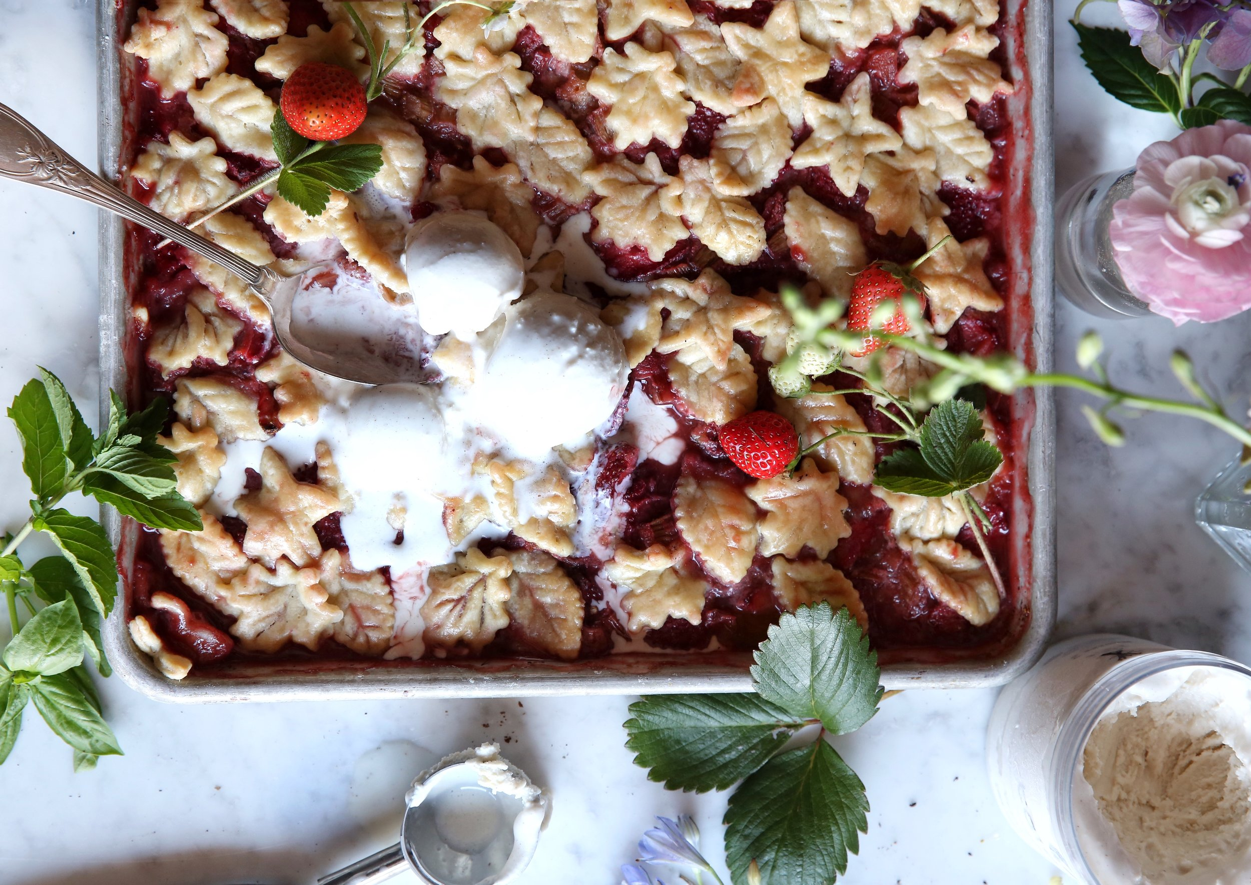 Judy Kim, Pie workshop, Strawberry Rhubarb Slab Pie