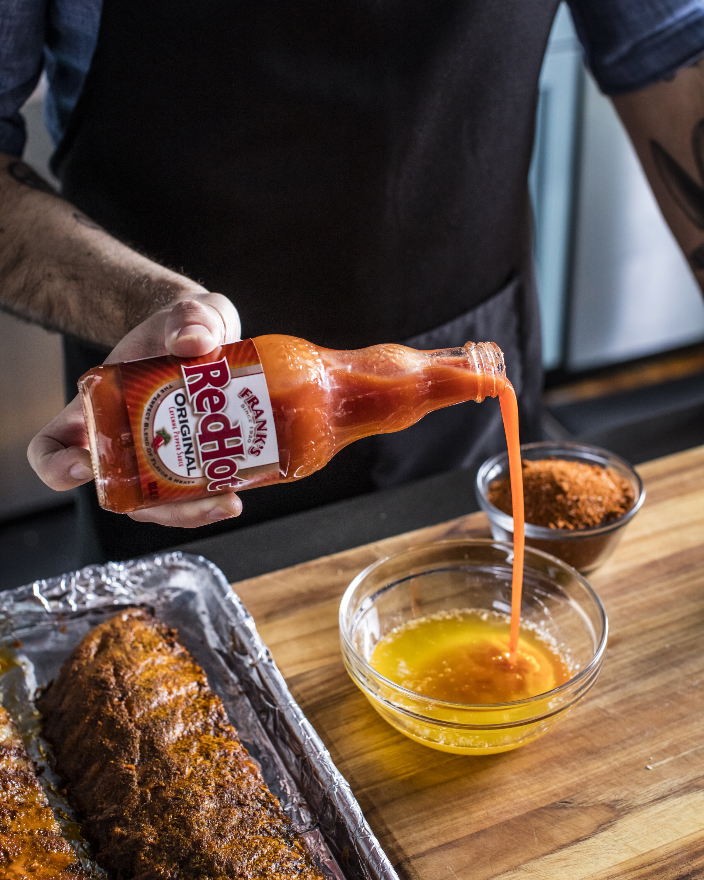 Franks RedHot with Andrew Rea, Binging with Babish,  Food stylist, Judy Kim Photographer, Eric Medsker