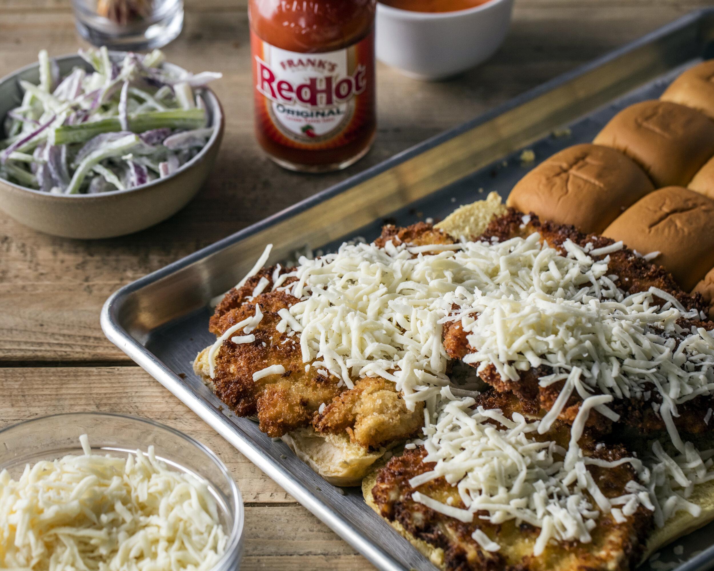 Franks RedHot Chicken Sandwich.Andrew Rea, Binging with Babish, Food stylist, Judy Kim Photographer, Eric Medsker