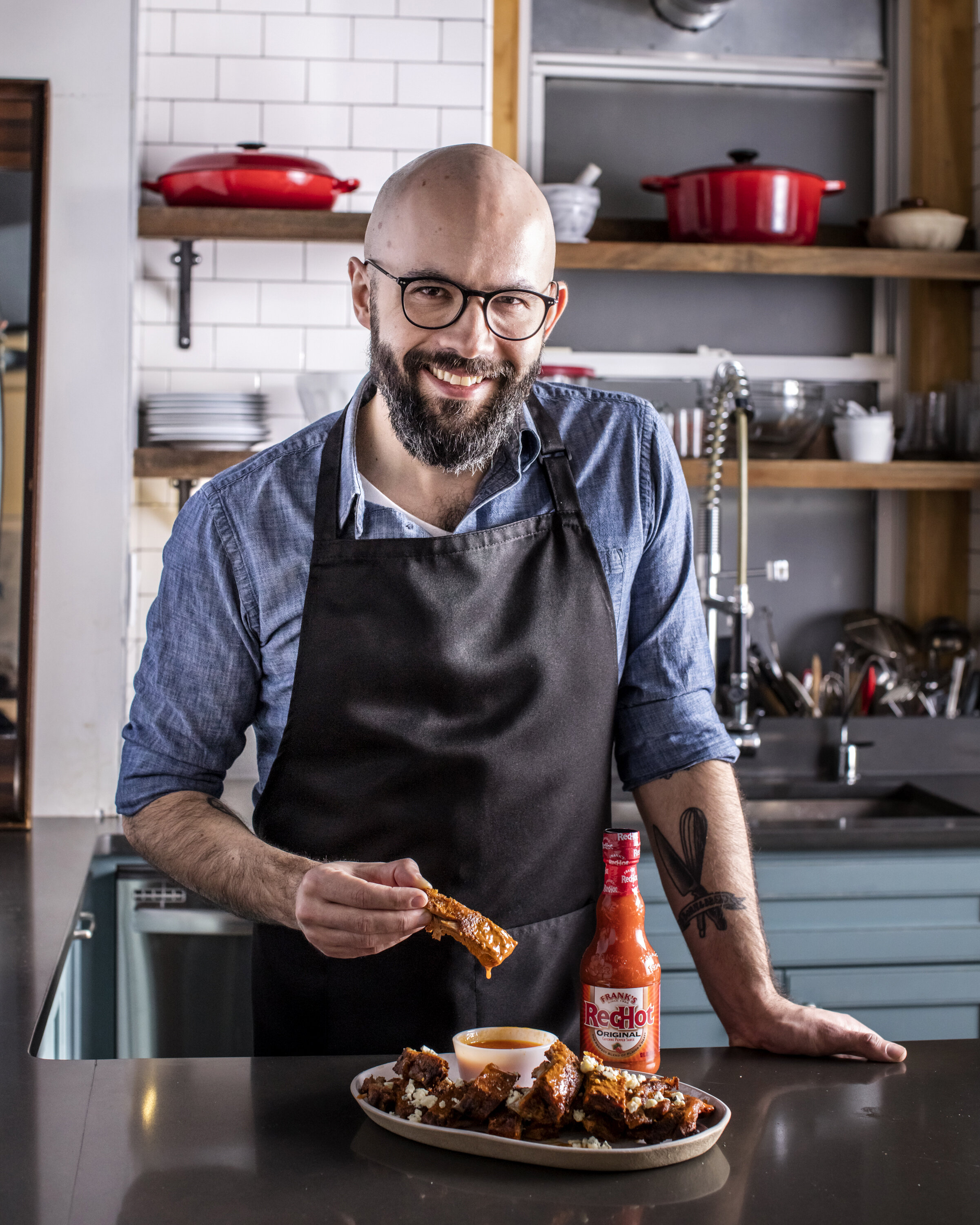 Franks RedHot Ribs .Andrew Rea, Binging with Babish, Food stylist, Judy Kim Photographer, Eric Medsker