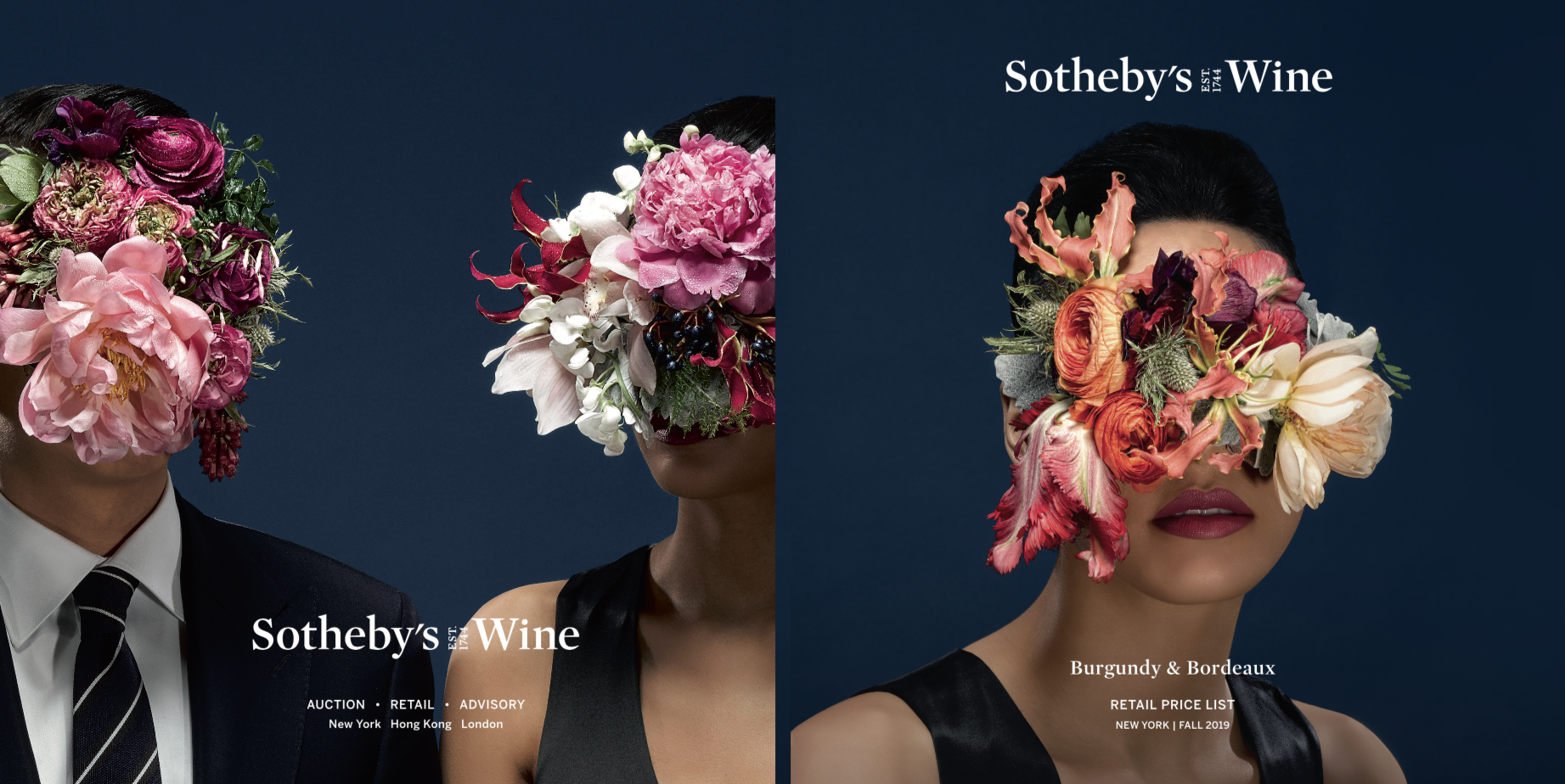 Sothebys Wine Fall Ad Campaign 9.2019 Floral Stylist Judy Kim Hair Makeup Sasha Safdiah Photo Ber Murphy Art Director Ana Lucia Rosales Boujnah