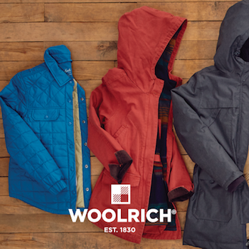 Woolrich -  As The Original Outdoor Clothing Company, Woolrich has been making quality outdoor products and sharing our love of the outdoors with our employees, partners and customers since 1830. Because of this, Woolrich promotes the use of sustainable fibers, fabrics and practices that will protect our environment and preserve our greatest gift.