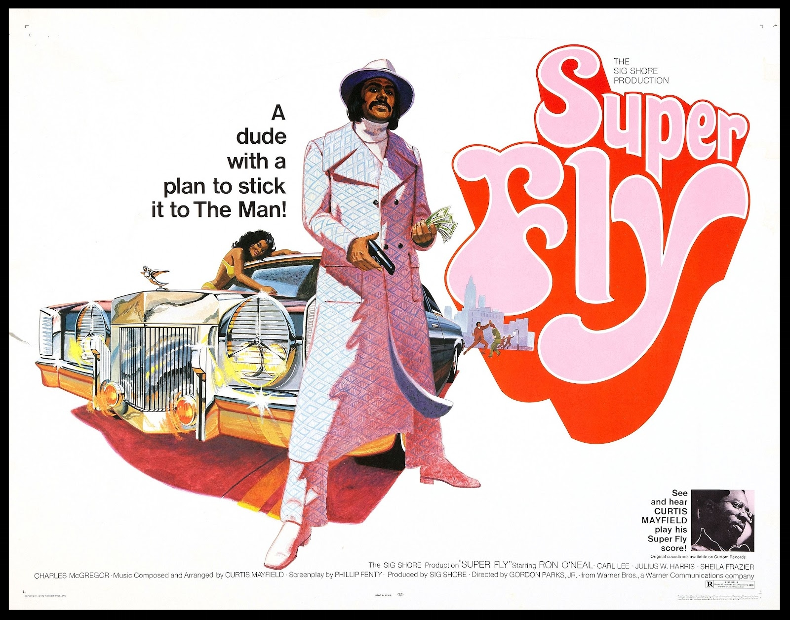 Half sheet poster for the Blaxploitation classic,  SuperFly  (1972).